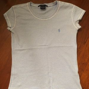 Baby blue and white striped Ralph Lauren Tee